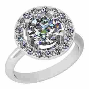1.75 Ctw Diamond I2/I3 14K White Gold Vintage Style Hal