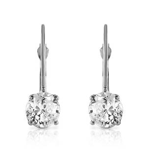 1 Carat 14K Solid White Gold Leverback Earrings 1.0 Car