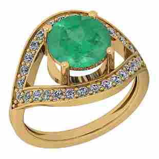 2.85 Ctw VS/SI1 Emerald And Diamond Platinum 14K Yellow