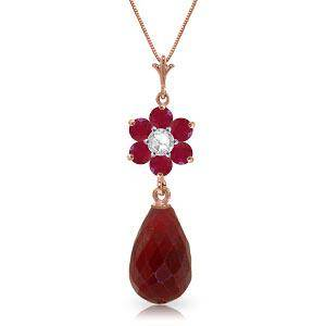 3.83 CTW 14K Solid Rose Gold Necklace Natural Ruby Diam