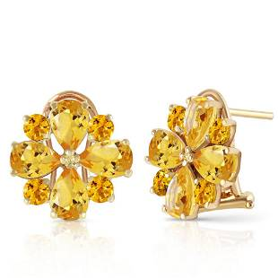 4.85 Carat 14K Solid Gold Fiore Citrine Earrings