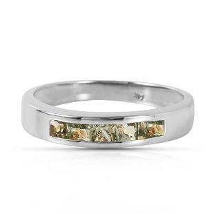 0.6 CTW 14K Solid White Gold Rings Natural Green Sapphi