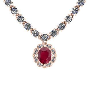 6.38 Ctw SI2/I1 Ruby And Diamond 14K Rose Gold Necklace