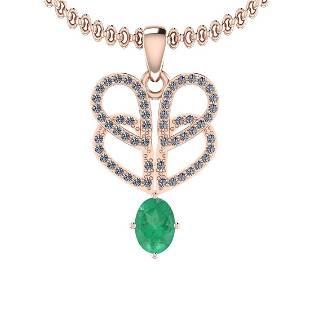 1.18 Ctw VS/SI1 Emerald And Diamond 14K Rose Gold