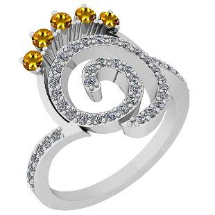 0.96 Ctw VS/SI1 Yellow Sapphire And Diamond 14K White G
