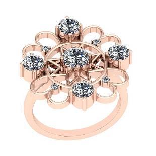 0.95 Ctw VS/SI1 Diamond 14K Rose Gold Vintage Ring