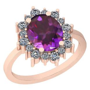 4.10 Ctw VS/SI1 Amethyst And Diamond 14k Rose Gold Vict