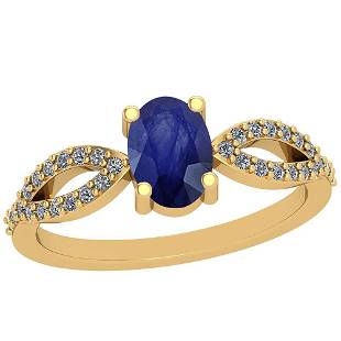 0.64 Ctw Blue Sapphire And Diamond I2/I3 14K Yellow Gol