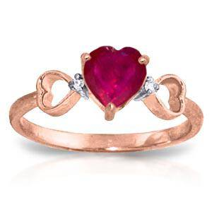 1.01 Carat 14K Solid Rose Gold Tri Heart Ruby Diamond R