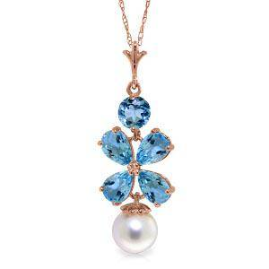 14K Solid Rose Gold Necklace with Blue Topaz & pearl