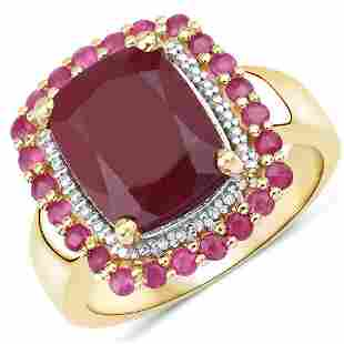14K Yellow Gold Plated 5.84 CTW Dyed Ruby and Ruby .925