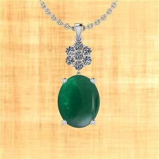 17.16 Ctw VS/SI1 Emerald And Diamond 14K White Gold Pen