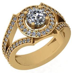 1.58 Ctw VS/SI2 Diamond 14K Yellow Gold Halo Ring