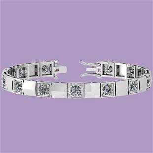 6.50 Ctw Diamond I1/I2 Prong Set 14K White Gold Bracele