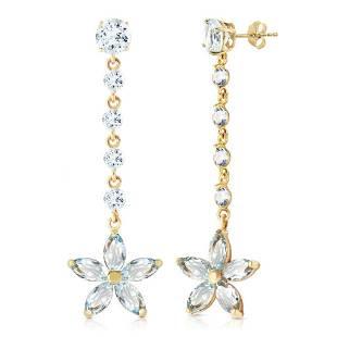 4.8 Carat 14K Solid Gold Stardrop Aquamarine Earrings
