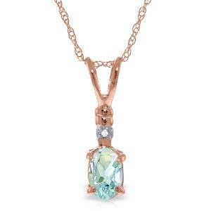 14K Solid Rose Gold Necklace withNatural Diamond & Aqua