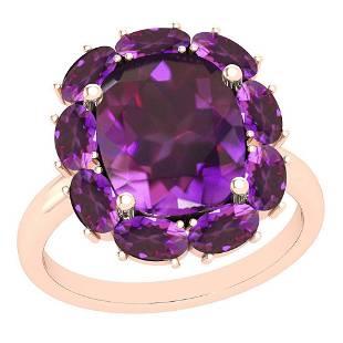 9.25 Ctw Amethyst 10K Rose Gold Vintage Style Ring