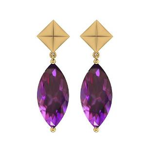 17.66 Ctw Amethyst Style Prong 14K Yellow Gold Earrings