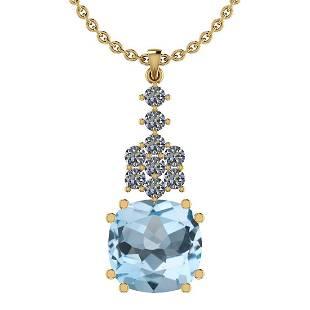15.83 Ctw I2/I3 Blue Topaz And Diamond 14K Yellow Gold