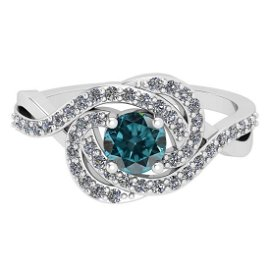 0.86 Ctw I2/I3 Treated Fancy Blue And White Diamond 14K
