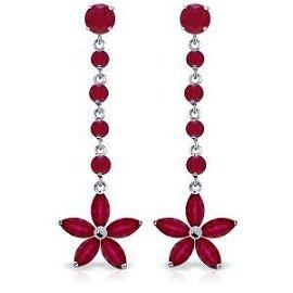 4.8 Carat 14K Solid White Gold Chandelier Earrings Ruby