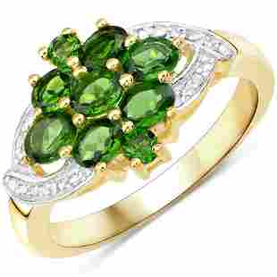 14K Yellow Gold Plated 1.26 CTW Genuine Chrome Diopside