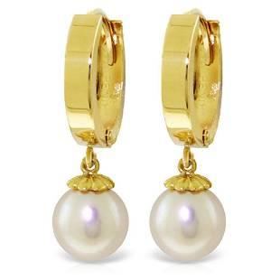 4 Carat 14K Solid Gold Hoop Earrings Natural pearl