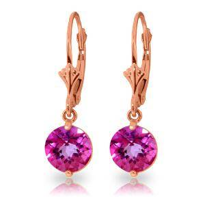 3.1 Carat 14K Solid Rose Gold Youth Pink Topaz Earrings