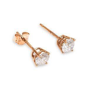 0.2 Carat 14K Solid Rose Gold Stud Earrings 0.20 Carat