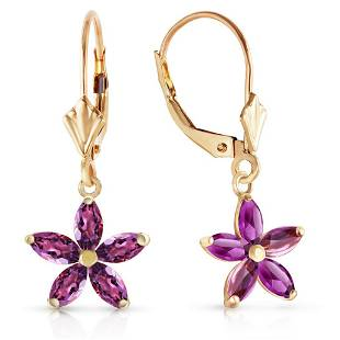 2.8 CTW 14K Solid Gold Leverback Earrings Natural Ameth