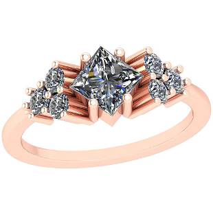 1.16 Ctw SI2/I1 Diamond Platinum 14K Rose Gold Plated R