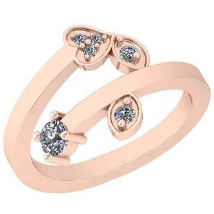0.27 Ctw VS/SI1 Diamond Platinum 14K Rose Gold Plated R