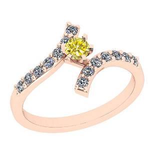 0.60 Ctw I2/I3 Treated Fancy Yellow And White Diamond 1