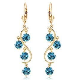 4.95 CTW 14K Solid Gold Grape Blue Topaz Earrings