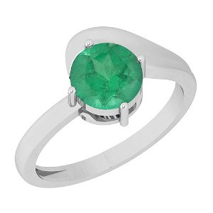 1.00 Ctw Emerald 14K White Gold Solitaire Ring