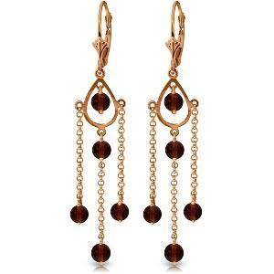 14K Solid Rose Gold Chandelier Earrings with Natural Ga
