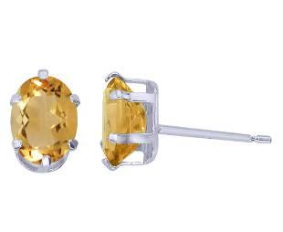 Certified Sterling Silver Oval Citrine Stud Earrings