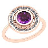 Certified 1.26 Ctw I2/I3 Amethyst And Diamond 14K Rose