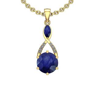 2.79 Ctw I2/I3 Blue Sapphire And Diamond 14K Yellow Gol