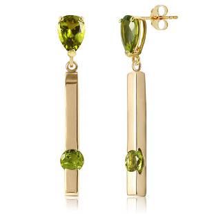 4.25 CTW 14K Solid Gold Bar Peridot Drop Earrings