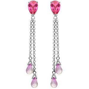 14K Solid White Gold Chandelier Earrings with Pink Topa