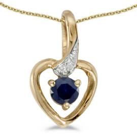 Certified 14k Yellow Gold Round Sapphire And Diamond He