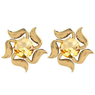 Certified 3.60 Ctw Citrine 14K Yellow Gold Stud Earring