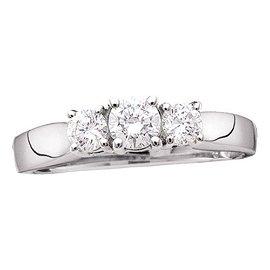 14kt White Gold Round Diamond 3-stone Bridal Wedding En