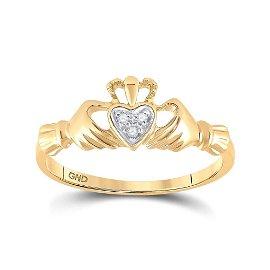 10kt Yellow Gold Womens Round Diamond Claddagh Heart Ri
