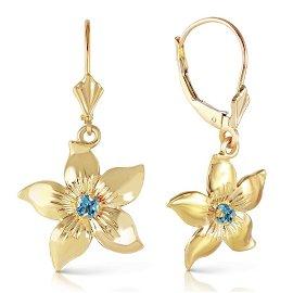 0.2 Carat 14K Solid Gold Leverback Flowers Earrings Blu
