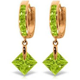 14K Solid Rose Gold Dangling Cubic Zirconia Hoop Earrin
