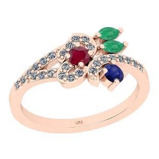 0.95 Ctw I2/I3 Multi Stone And Diamond 14K Rose Gold En