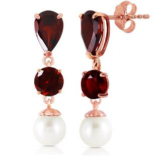 10.5 CTW 14K Solid Rose Gold Chandelier Earrings Garnet