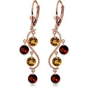 4.6 Carat 14K Solid Rose Gold Garnet Cirine Drop Earrin